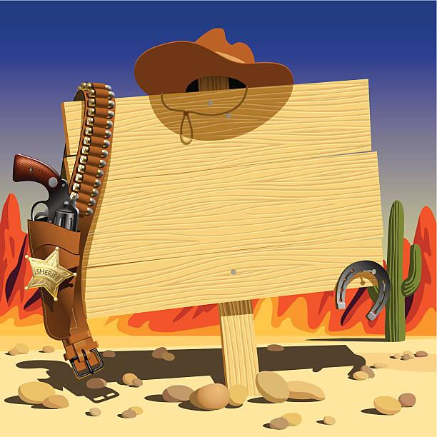 stockillustraties, clipart, cartoons en iconen met sign in the wild west - arizona highway signs
