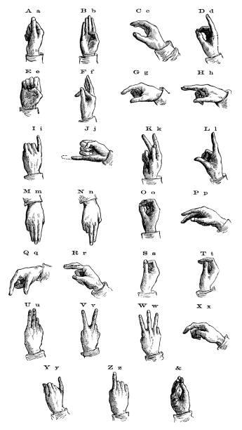 stockillustraties, clipart, cartoons en iconen met gebarentaal vanaf 1873 - gebaren