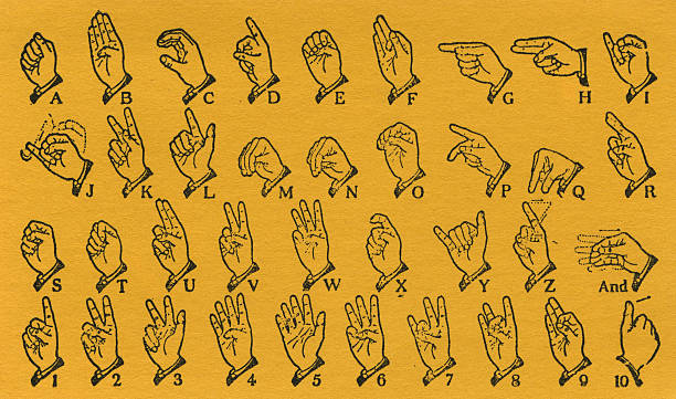 sign language vector art illustration