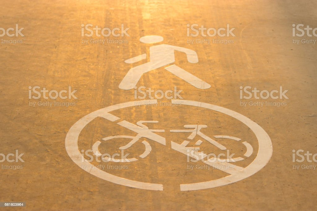 sign of a bicycle on asphalt vector art illustration