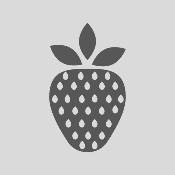 Sign of a strawberry on a gray background vector art illustration