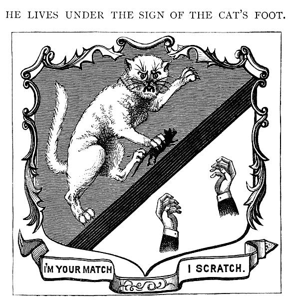 """Sign of the cat's foot """"He lives under the sign of the cat's foot."""" In other words, a man who is hen-pecked - his wife scratches him! An illustration from """"John Ploughman's Pictures: or More of His Plain Talk for Plain People"""" by C.H. Spurgeon, published by Passmore & Alabaster, London, 1880. 1880 stock illustrations"""