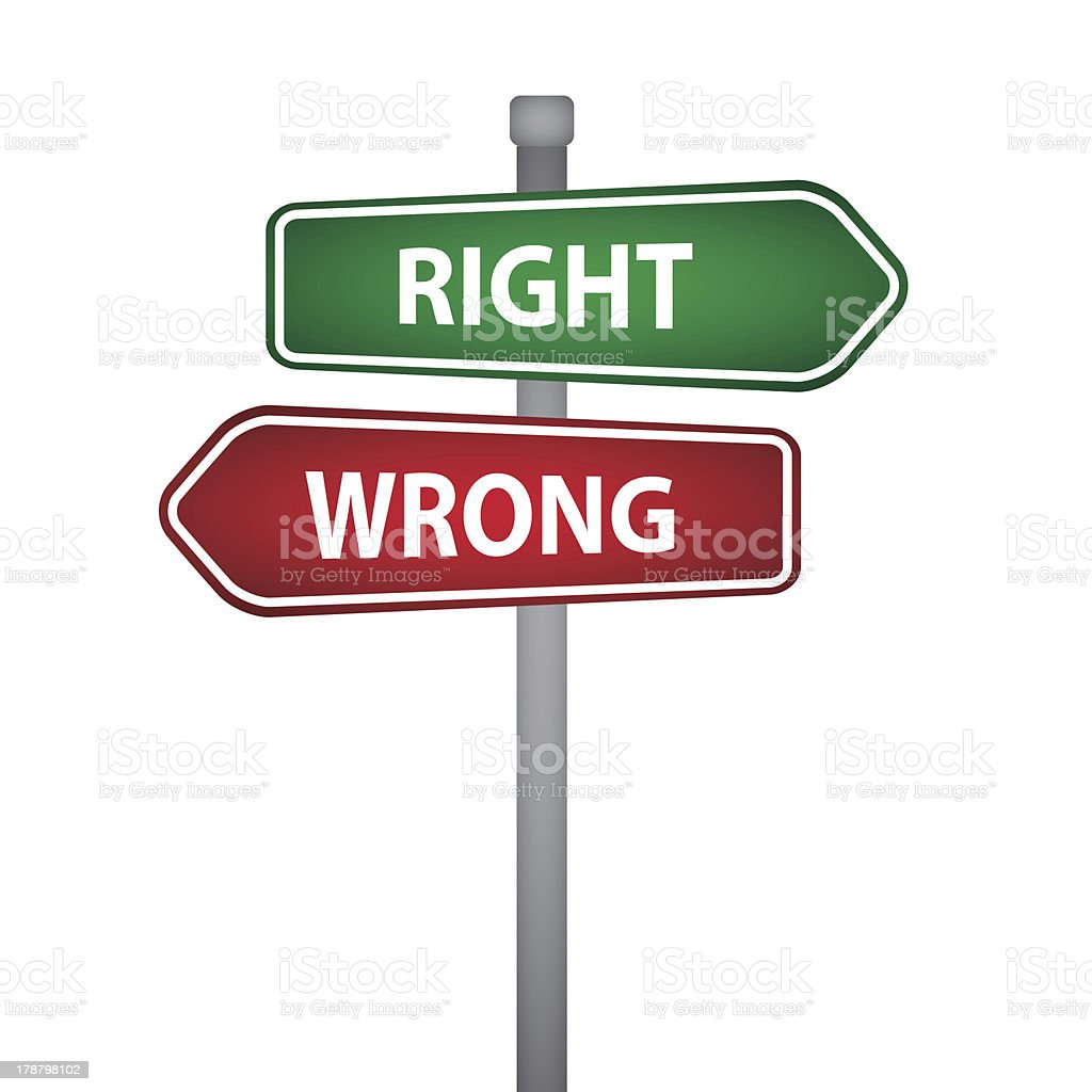 Sign Post With Both Right And Wrong Signs Stock Illustration