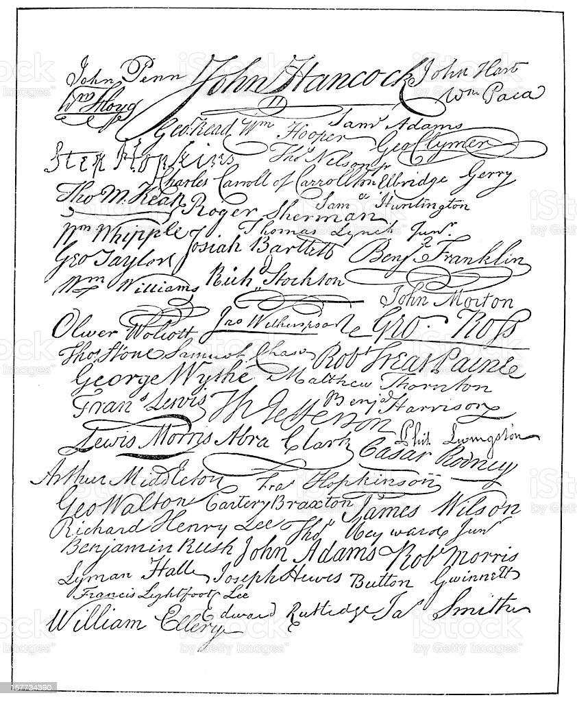 Signatures - Declaration of Independence vector art illustration