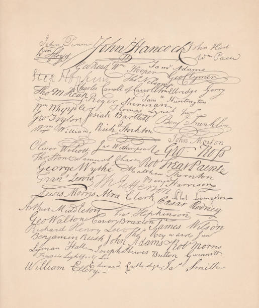 Signatures on the United States Declaration of Independence (1776), facsimile The signatures on the Declaration of Independence of the United States of America (1776). Facsimile, published in 1886. declaration of independence stock illustrations