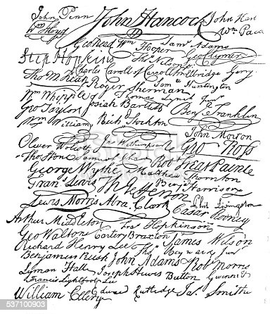 The signatures to the American Declaration of Independence
