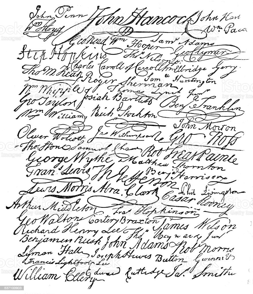 Signatures to the American Declaration of Independence vector art illustration