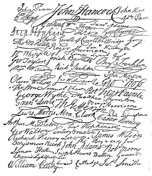 Signatures to the American Declaration of Independence The signatures to the American Declaration of Independence declaration of independence stock illustrations