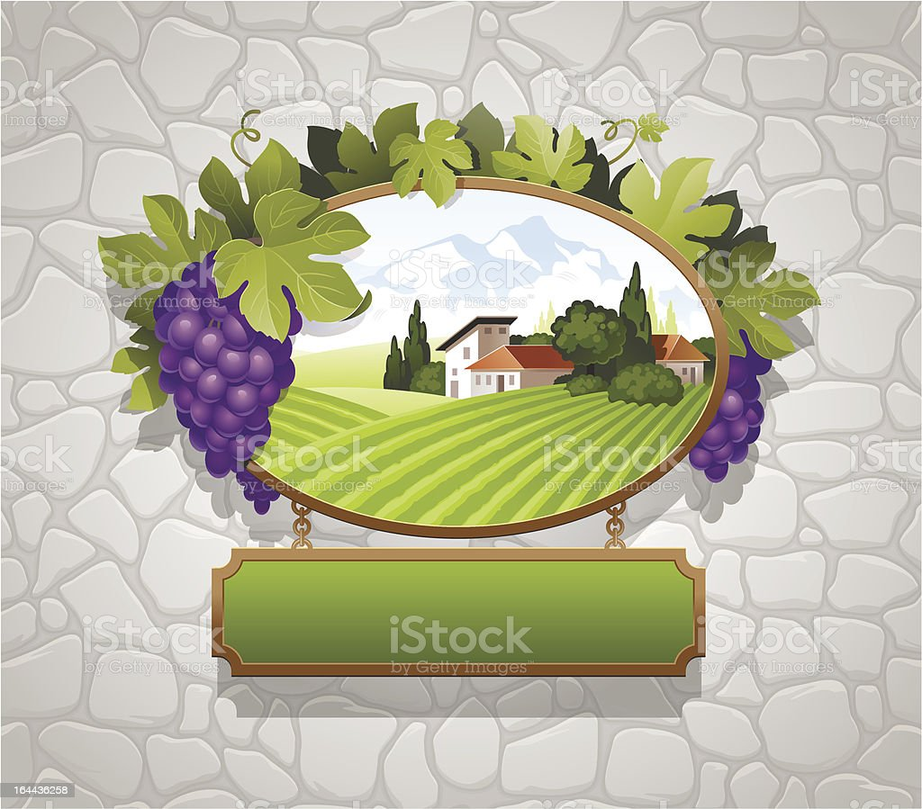 Signboard with grapes and image of country landscape royalty-free stock vector art