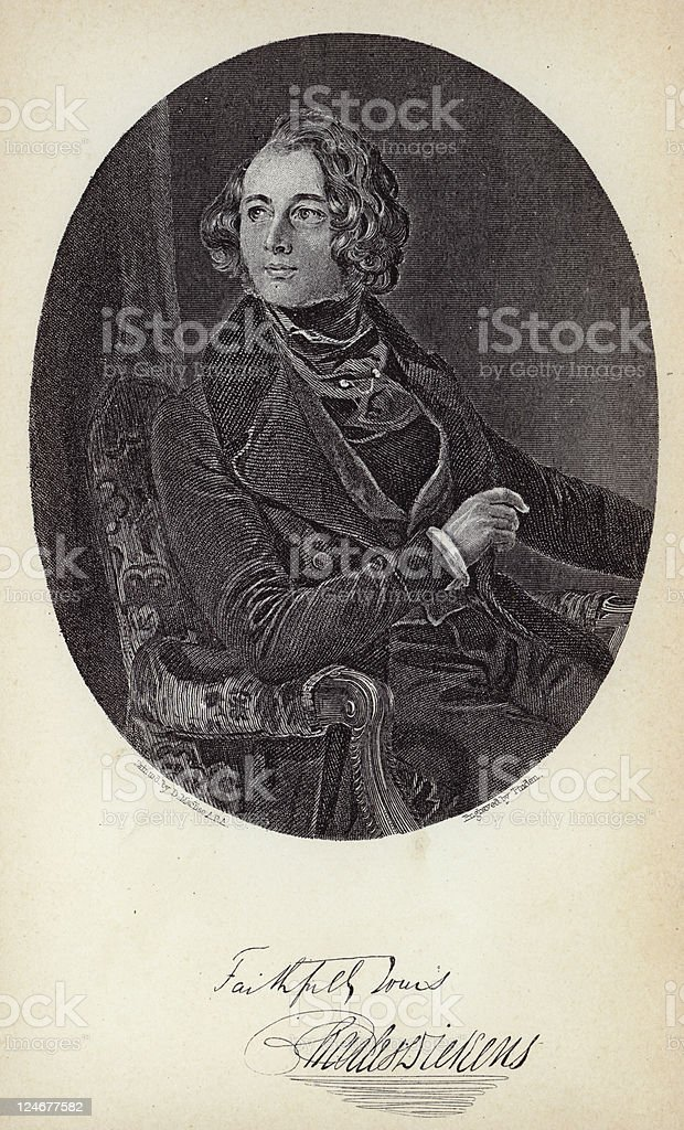 Signed Dickens Portrait royalty-free stock vector art