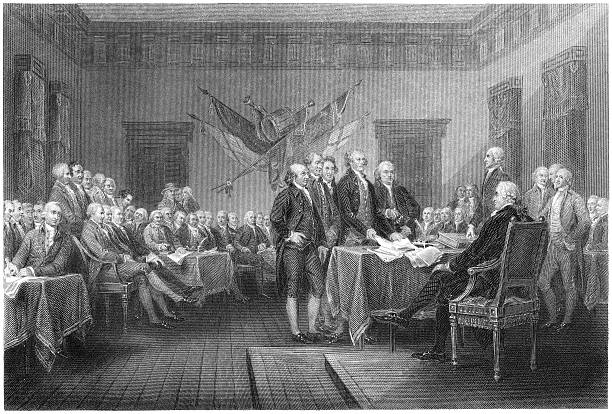 Signing of the Declaration of Independence - Antique Engraving Antique engraving of the signing of the Declaration of Independence, by William Greatbach after original by John Trumbull. Uneven edges of the engraving have been preserved, giving designers the freedom to crop at will. declaration of independence stock illustrations