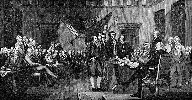 Signing of the Declaration of Independence Signing of the Declaration of Independence declaration of independence stock illustrations