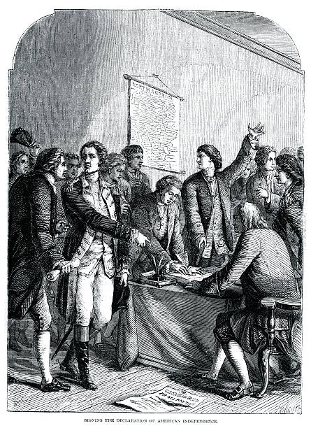 Signing the declaration of American Independence Vintage engraving from 1861 showing the Signing the declaration of American Independence declaration of independence stock illustrations