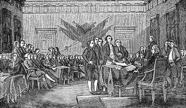 stockillustraties, clipart, cartoons en iconen met signing the usa american declaration of independence - 18e eeuw