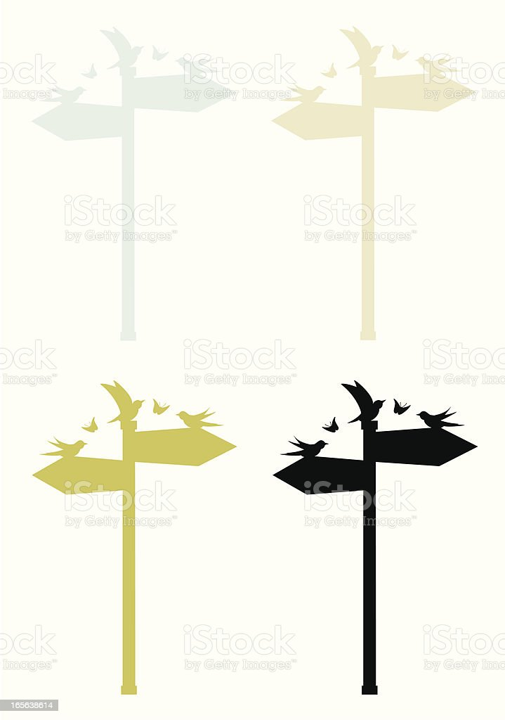 Signpost and birds royalty-free signpost and birds stock vector art & more images of animal themes