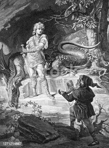 Siegfried and Mime Mime is plotting to obtain the ring of power originally created by his brother Alberich. He has raised the human boy Siegfried as a foster child, to kill Fafner, who obtained the ring and other treasures in the opera Das Rheingold and has since transformed himself from a giant to a dragon.  Original edition from my own archives Source : Gartenlaube 1892 after painting of TH. Piyis 1876