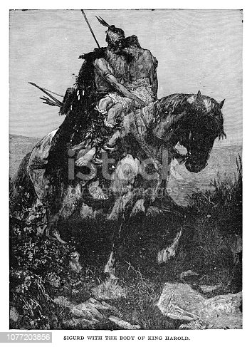 Sigurd with the body of King Harold - Scanned 1890 Engraving