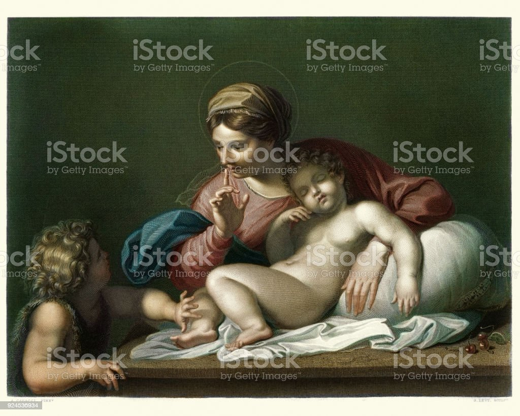 Silence ! Virgin and Child with the infant Baptist vector art illustration