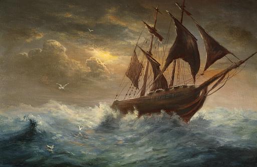 Silhouette a schooner