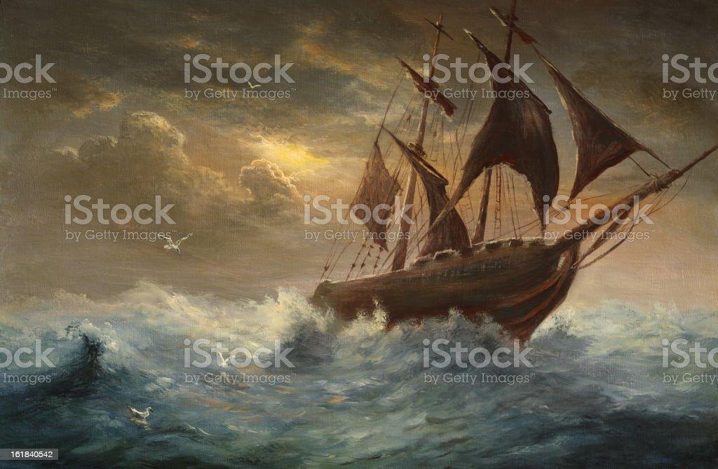 Silhouette a schooner vector art illustration