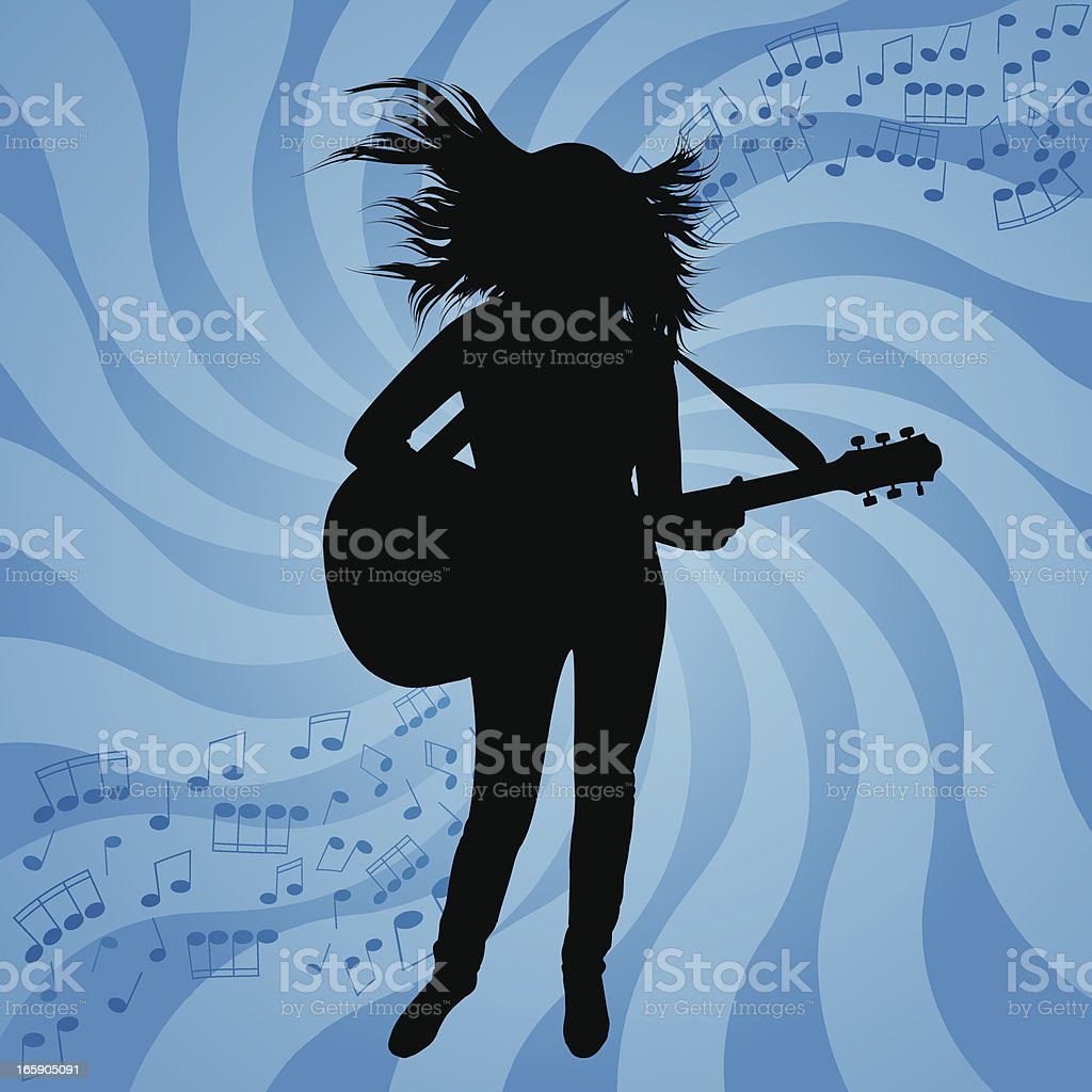 Silhouette beautiful girl with guitar vector art illustration