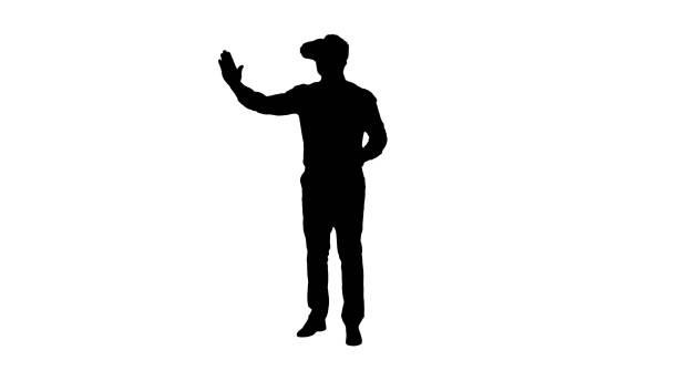 stockillustraties, clipart, cartoons en iconen met silhouet zakenman in vr-bril en interactie met virtual reality objecten - dubbelopname businessman
