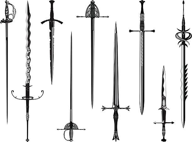 silhouette collection of swords - sword stock illustrations