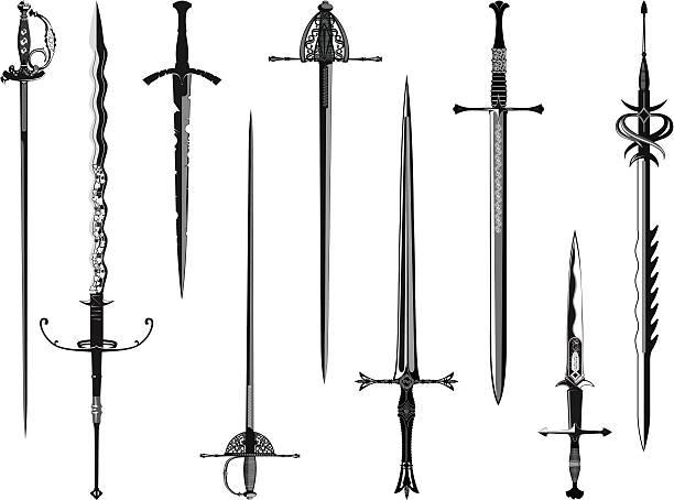 실루엣 컬렉션 swords - sword stock illustrations