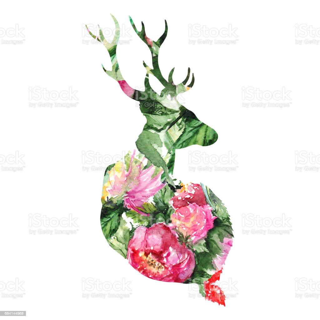 Silhouette deer animal floral flower background isolated silhouette deer animal floral flower background isolated - immagini vettoriali stock e altre immagini di acquerello royalty-free