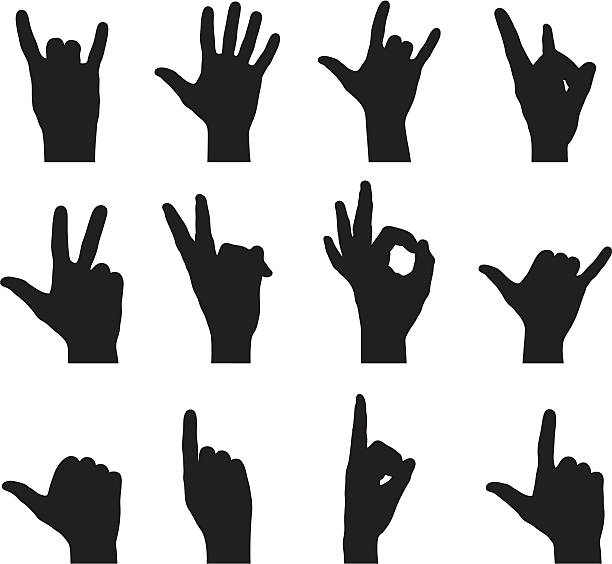 Silhouette Hand Signs vector art illustration