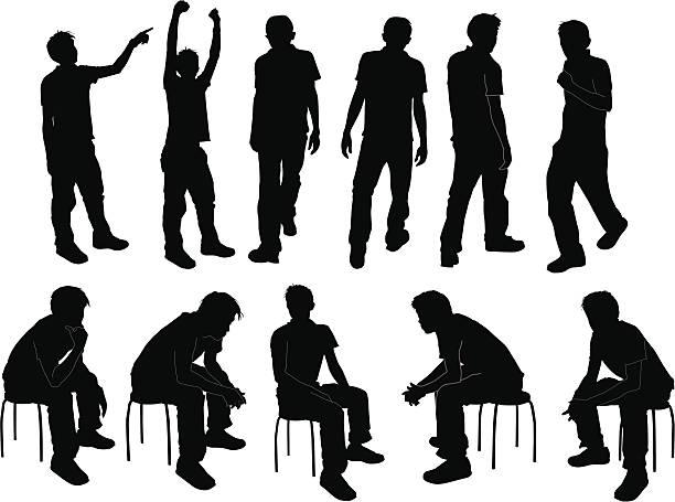 stockillustraties, clipart, cartoons en iconen met silhouette - jonge mannen