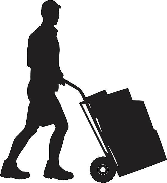 sylwetka dostawy mężczyzna popychając koszyka - wózek transportowy stock illustrations
