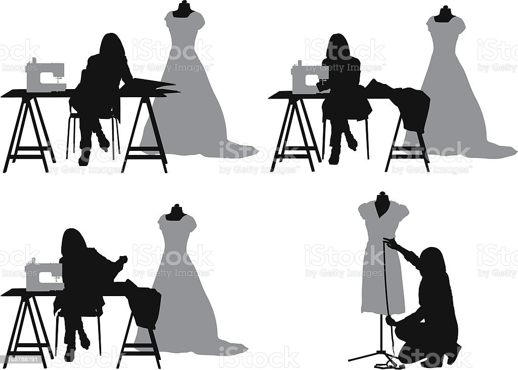 Line Silhouettes In Fashion Design : Silhouette of a fashion designer in clothing store stock