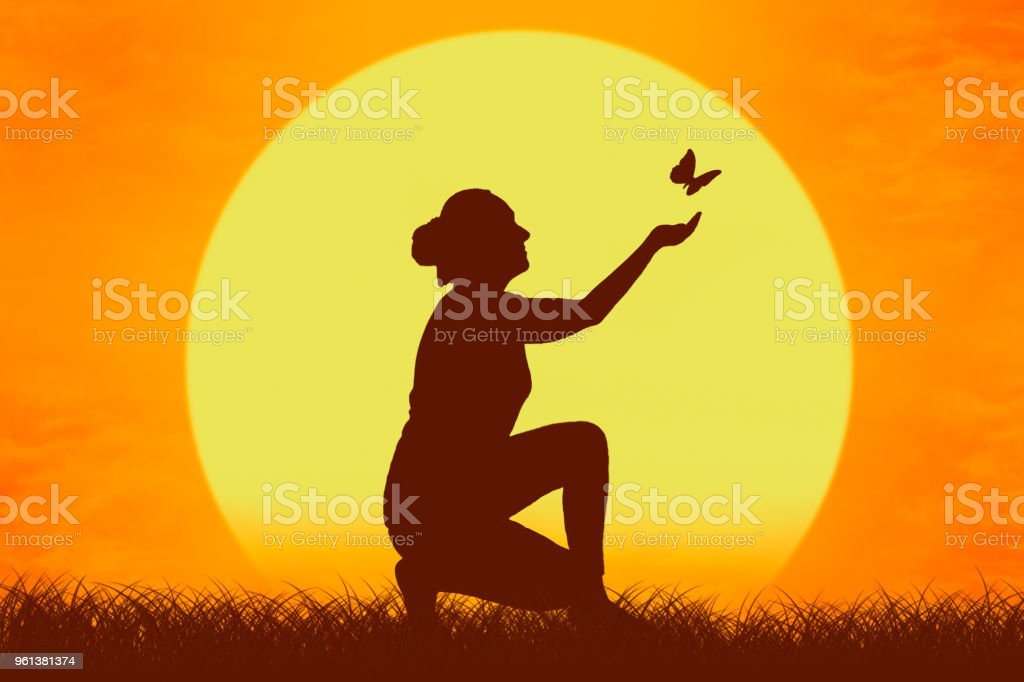 Silhouette of a girl with butterfly flying from her hands against the setting sun. vector art illustration