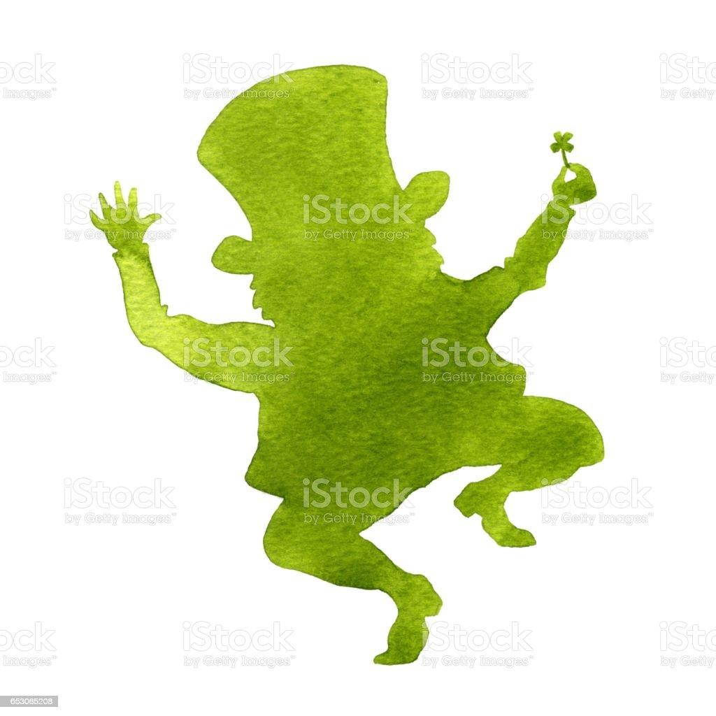 Silhouette of a leprechaun vector art illustration