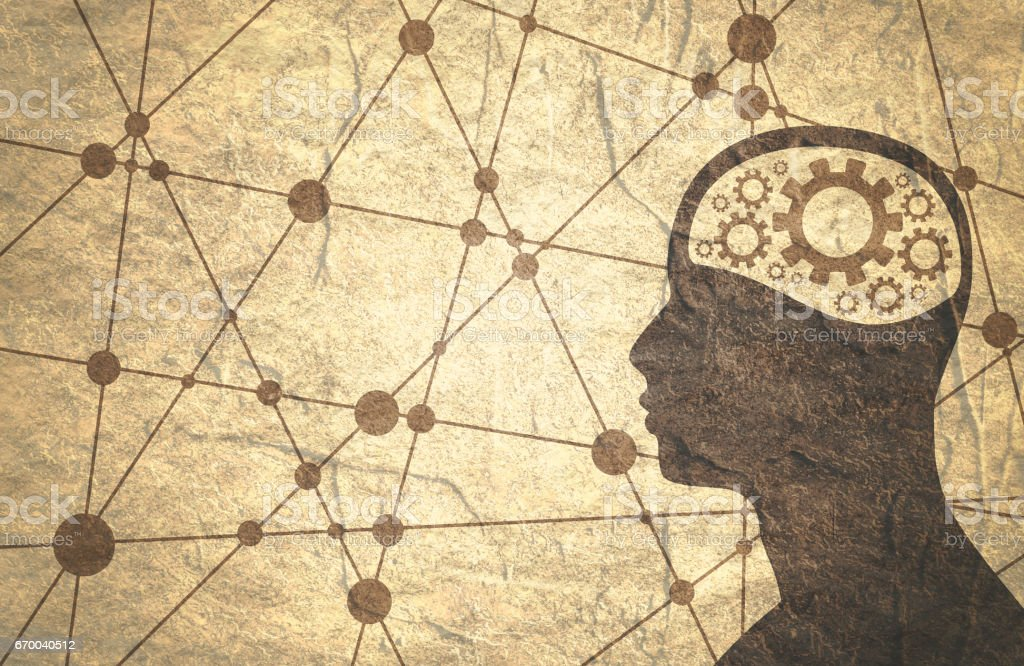 Silhueta da cabeça de um homem com engrenagem. - ilustração de arte em vetor