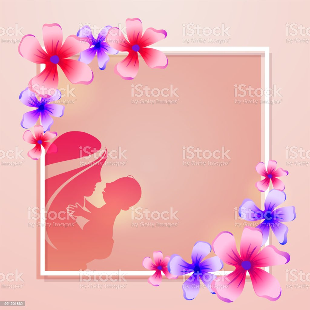 Silhouette Of A Mother With Her Child, Colorful Floral Decorated Frame  Design. Happy Mothers
