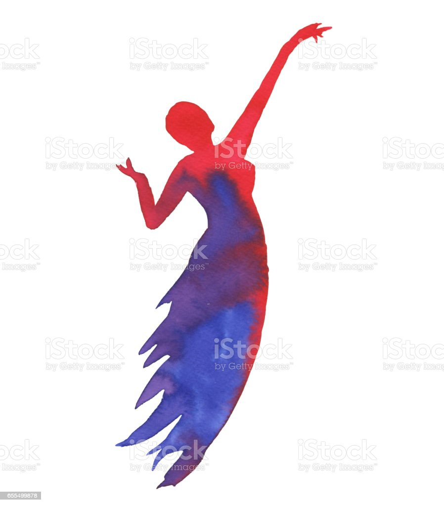 Silhouette of a woman. Dancer isolated on white background. vector art illustration