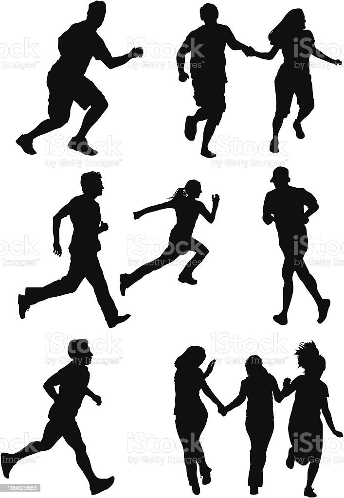 Silhouette Of Athletes Running royalty-free stock vector art