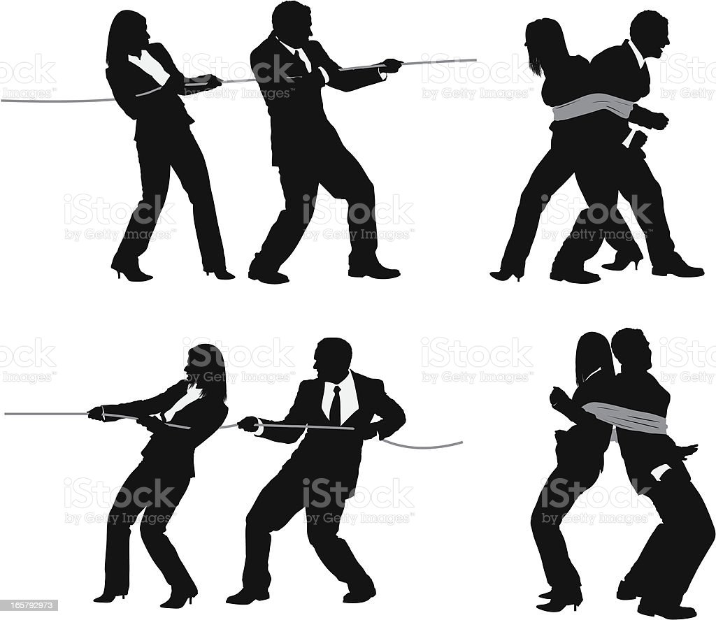 Silhouette of business couples with rope vector art illustration