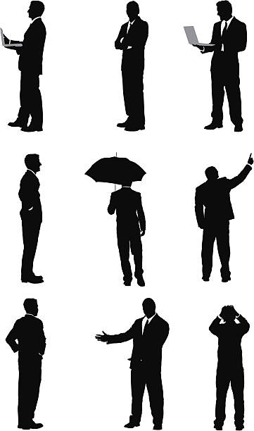 stockillustraties, clipart, cartoons en iconen met silhouette of business executives - overhemd en stropdas