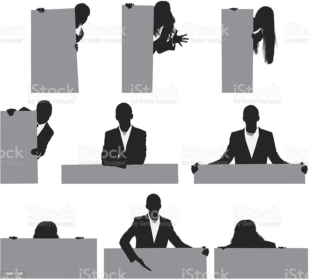 Silhouette of business executives with placards vector art illustration
