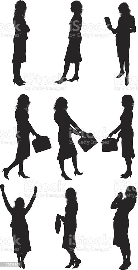 Silhouette Of Businesswoman royalty-free silhouette of businesswoman stock vector art & more images of arms outstretched