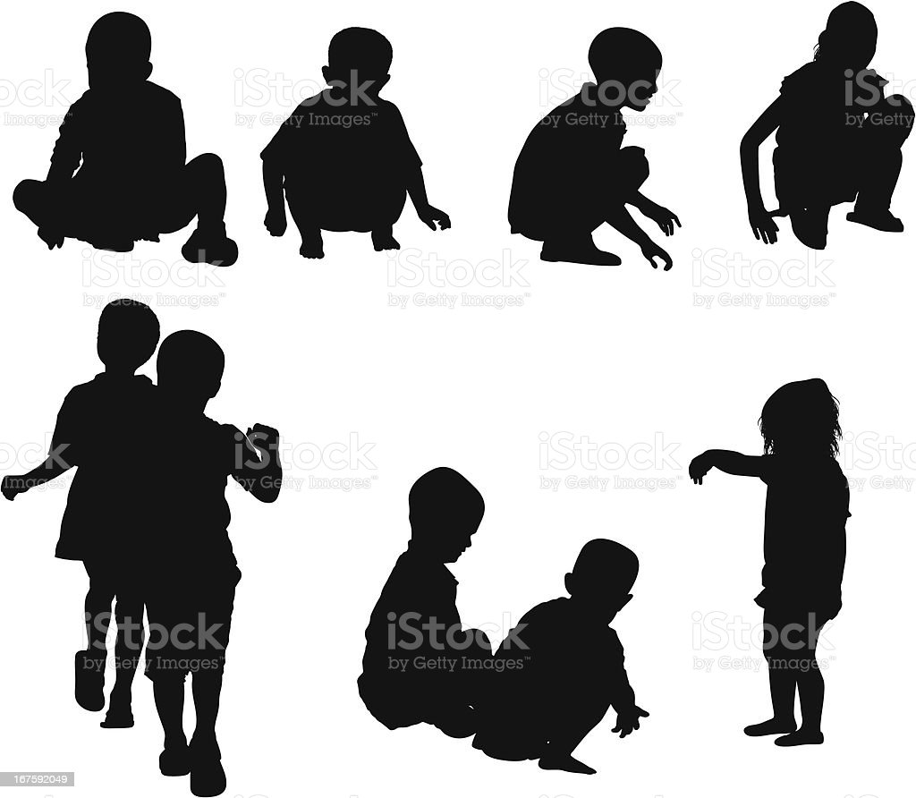 Silhouette of children playing royalty-free stock vector art