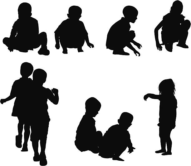 Silhouette of children playing vector art illustration