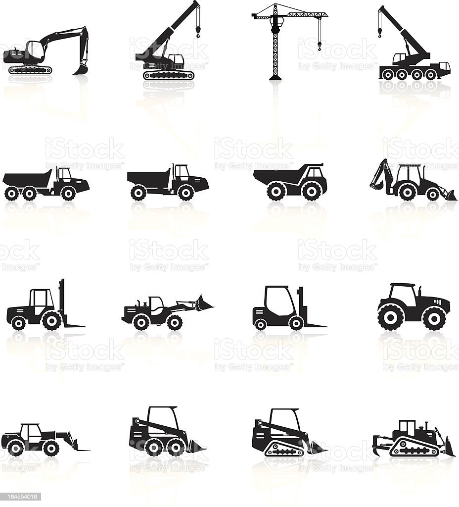 Silhouette of construction vehicles on white vector art illustration