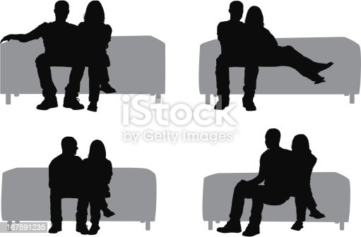 Silhouette Of Couple Sitting On Couch Stock Vector Art