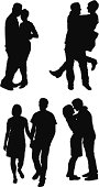Silhouette of couples romancing