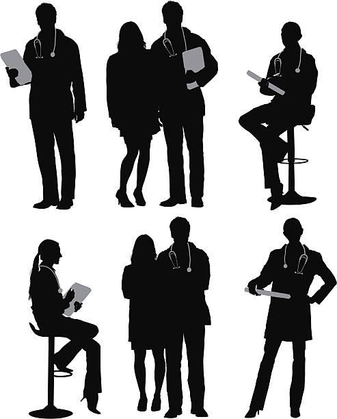 illustrazioni stock, clip art, cartoni animati e icone di tendenza di silhouette di medici - dottoressa