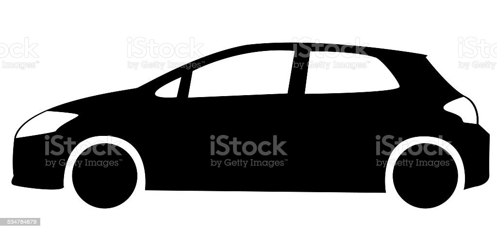 Silhouette of hatchback car vector art illustration